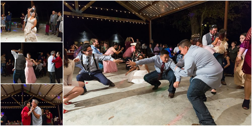 Guests dance at reception - Dove Creek Ranch in Dublin, Texas - Jason & Melaina Photography - www.jasonandmelaina.com