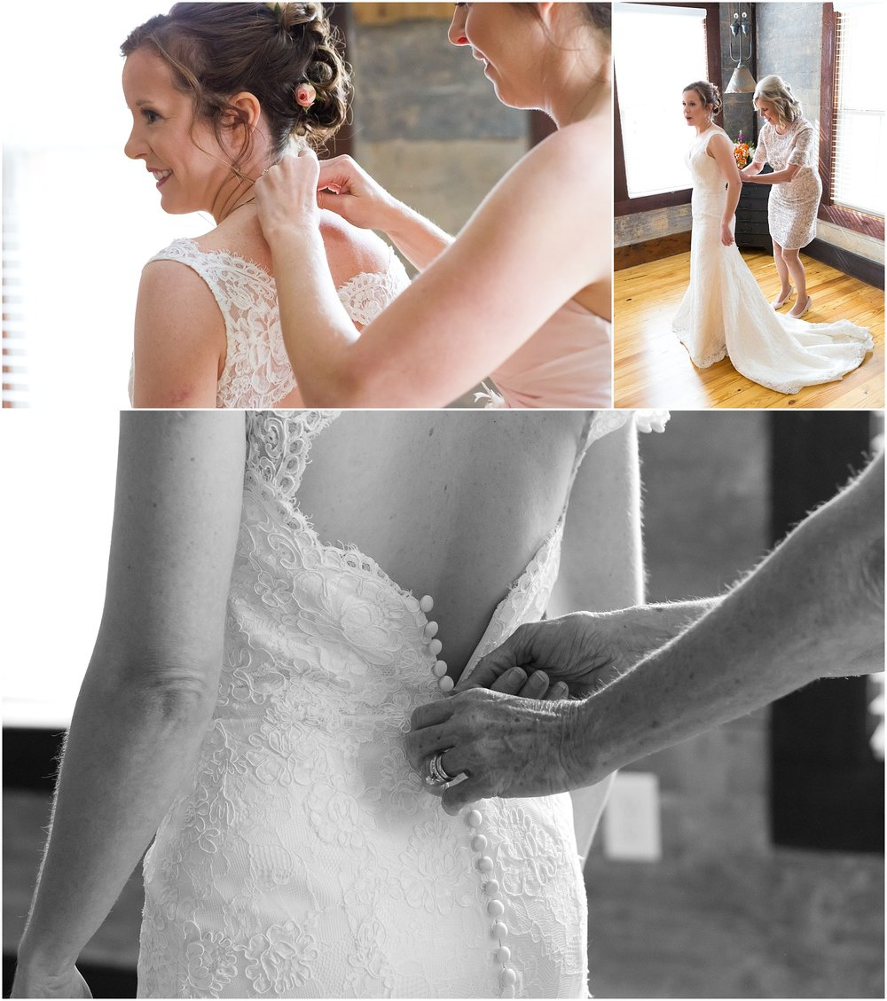 Bride getting into dress for her downtown Waco Texas wedding - Jason & Melaina Photography - www.jasonandmelaina.com