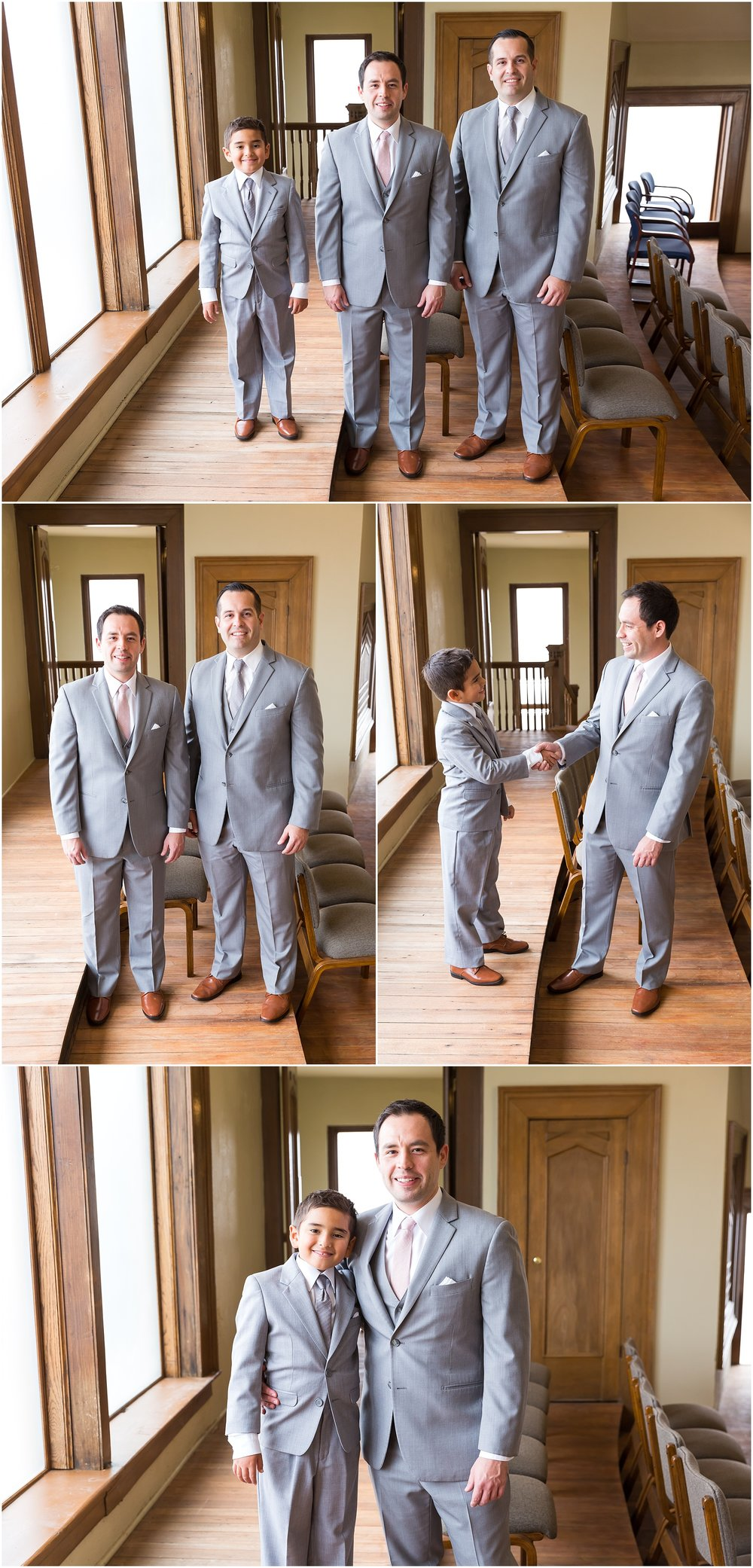Groom poses with his son before classic church wedding at The Chapel at Meyer Center in Waco, Texas - Jason & Melaina Photography - www.jasonandmelaina.com