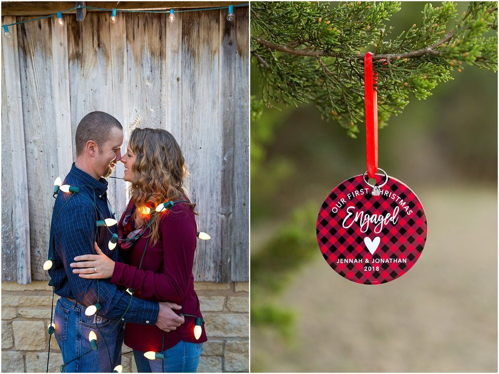 Couple wrapped up in white Christmas lights for engagement portraits - Jason & Melaina Photography - www.jasonandmelaina.com