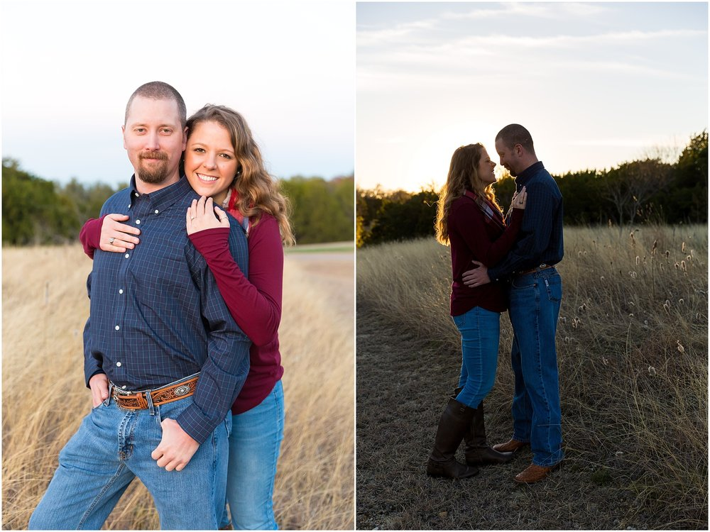 Sunset engagement portraits in a field of dry grass - Waco, Texas - Jason & Melaina Photography