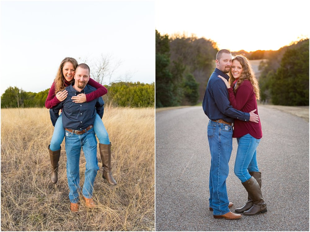 Groom carries his fiance on his back while she laughs during their engagement portraits in Waco, Texas - Jason & Melaina Photography - www.jasonandmelaina.com
