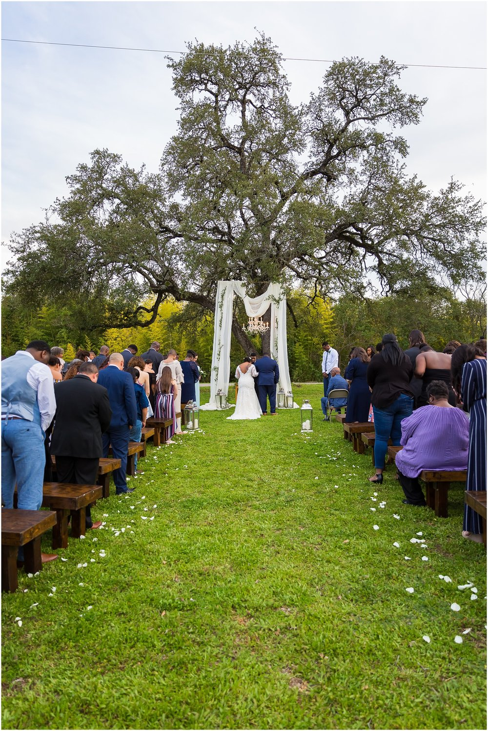 A large oak tree stands over a beautiful outdoor wedding ceremony in Cameron Park in Waco, Texas - Jason & Melaina Photography - www.jasonandmelaina.com