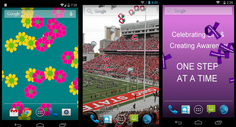Whether it is  Flowers, Football Helmets or Cancer Ribbons falling from the sky, DroidLoft has made some exciting Live Wallpapers for your Android Device.