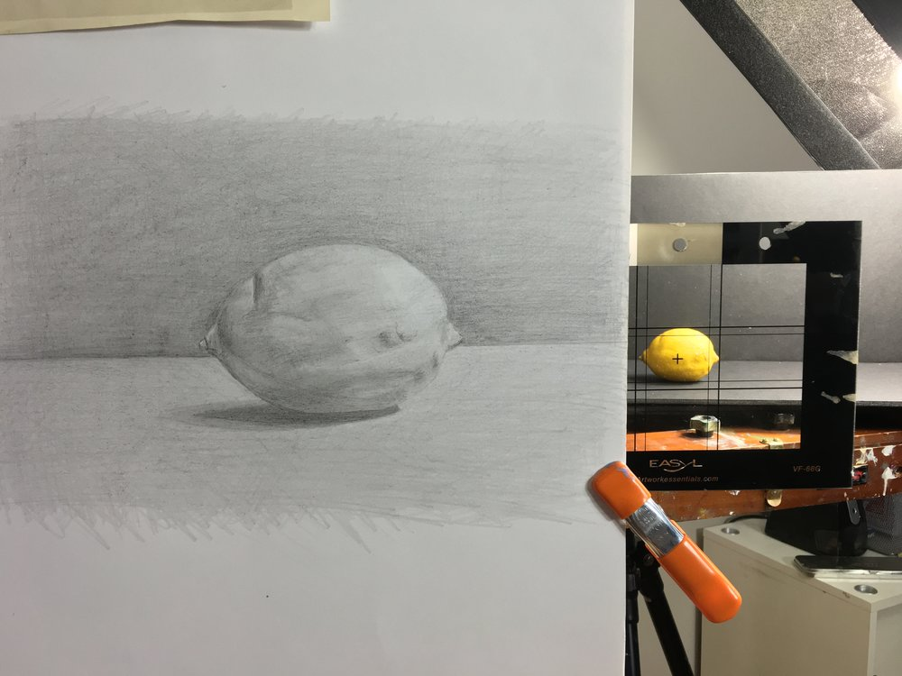 Susan Pragaspathy, Study of a lemon, 8x10, drawing in graphite set-up using sight-size method and comparative drawing methods..