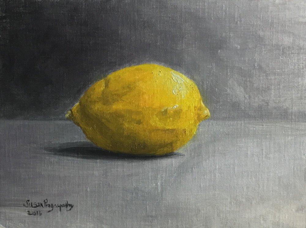 Susan Pragaspathy, Lemon 1, study in oil, 5x7, linen on panel