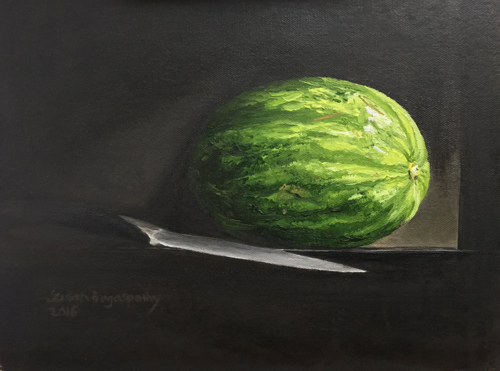 """5) Directly painted the watermelon and knife in the """"alla prima"""" style which means there is little to no drawing under the painting nor is there an ebauche (an underpainting)."""
