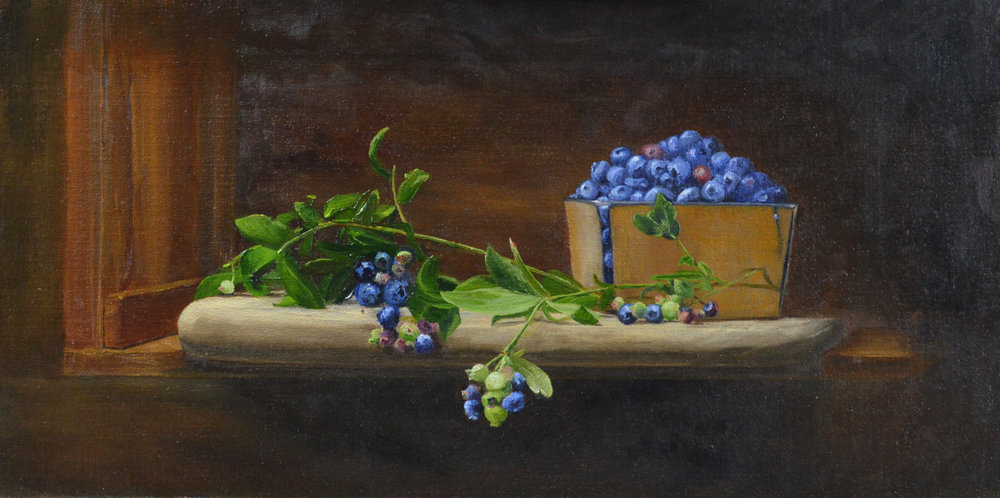 Blue Bounty by Susan Pragaspathy | 10x20 | oil on linen on panel | 2017