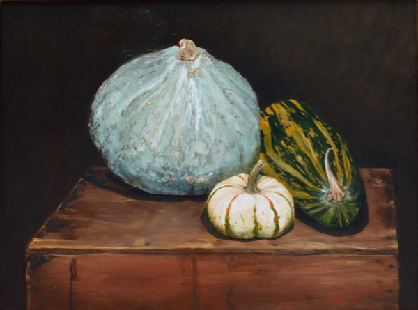 Winter Squashes  by Susan Pragaspathy | 18 x 24 inches | oil on linen | 2016 | Copyright © 2016 Susan Pragaspathy, All Rights Reserved