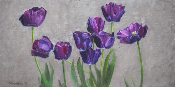 Vincent's Tulips by Susan Pragaspathy | 10 x 20 inches | oil on linen | 2017 | Private Collection |  Copyright ©2017 Susan Pragaspathy, All Rights Reserved