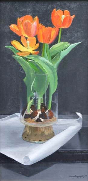 Study of Orange Tulips by Susan Pragaspathy | 10 x 20 inches | oil on linen | 2017 | Copyright © 2017 Susan Pragaspathy, All Rights Reserved
