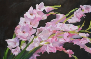 A detail of Sword Lillies by Susan Pragaspathy | 24x36 inches | oil on linen | 2017