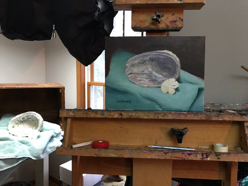 This is a behind-the-scenes look at a recent commission of a sea shell for a remodeled bathroom. I mostly paint directly from life and sometimes I use photos for a commission due to not having another option (for example, if I am painting an old barn that no longer exists or a pet that won't sit still or a memory of a person, place or idea).  Abalone & Sand Dollar | 9x12 in. | 2017 | Private Collection