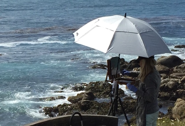 Susan painting en plein air near Carmel, California.