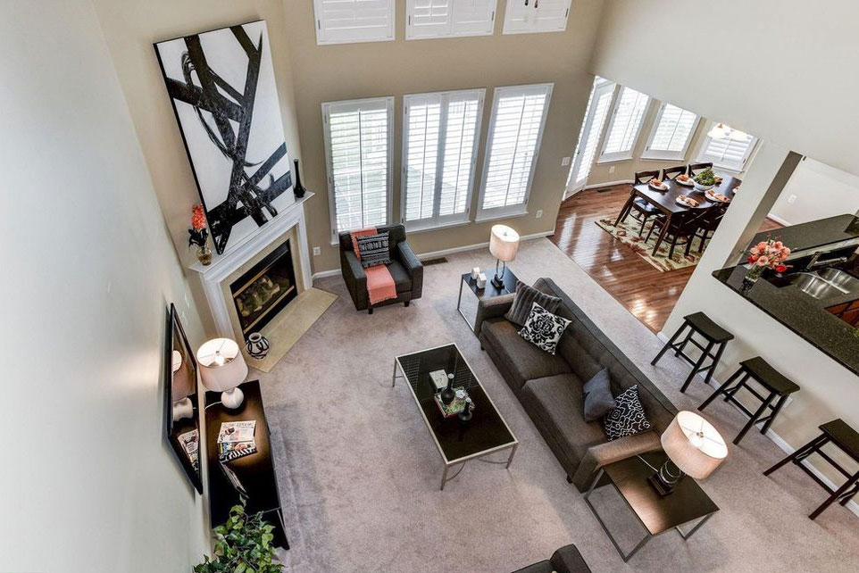 Ashburn Virginia two story living room staged
