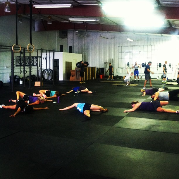 A productive 5:15 crew. #crossfit #scorpions #StretchingWithChels