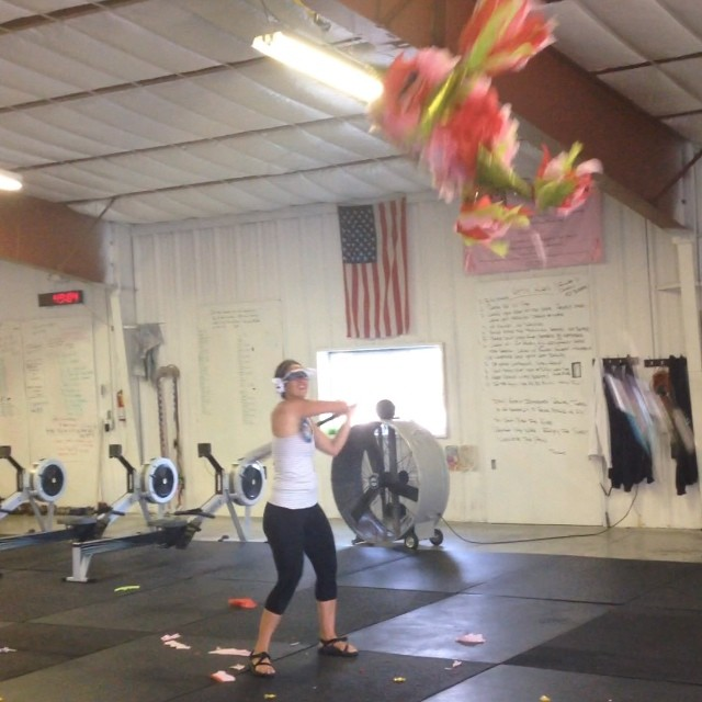 Birthday girl taking some serious hacks! Thanks for everything you do! @jamers07 #cvsc #piñata wod