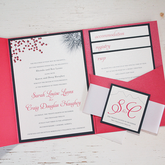 Pink Umbrella Designs - Winter Cranberry Wedding Invitation Suite