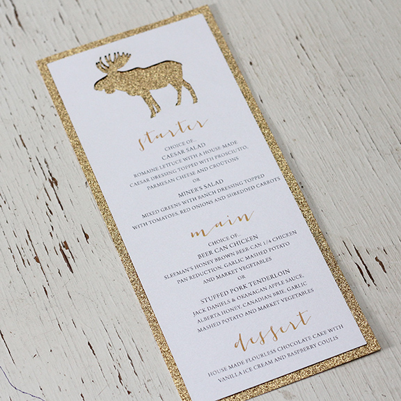 Pink Umbrella Designs - Rustic Glam Moose Wedding Menu