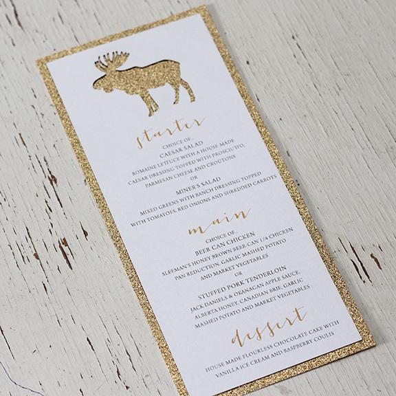 Invitations wedding invitations calgary canmore and banff pink umbrella designs rustic glam moose wedding menu stopboris Gallery