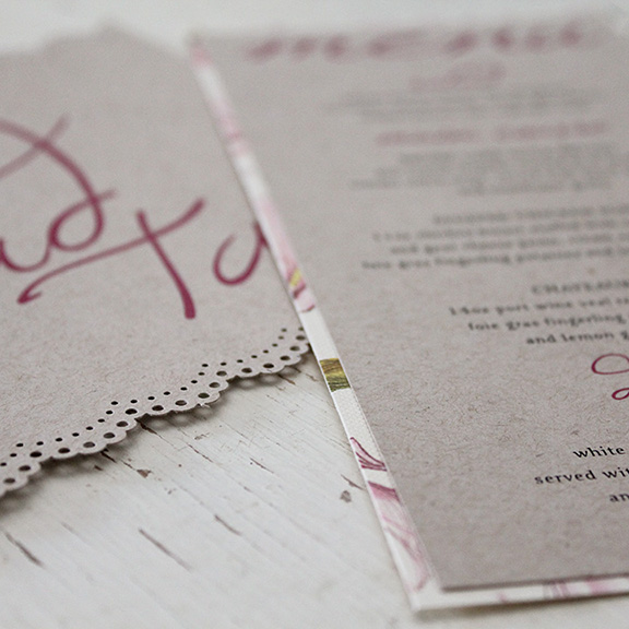 Pink Umbrella Designs - Vintage Rustic Wedding Day Stationery