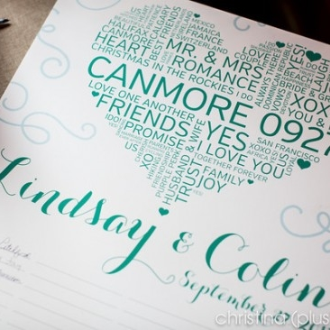 Pink Umbrella Designs - Wedding Guest Book Sign. Photo by Cristina + Nathan