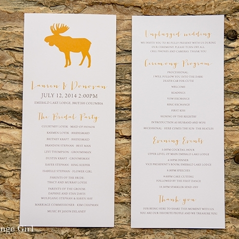 Pink Umbrella Designs - Moose Wedding Menu. Photo by Orange Girl