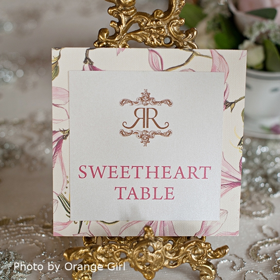 Pink Umbrella Designs - Rustic Tea Party Wedding Table Number. Photo by Orange Girl