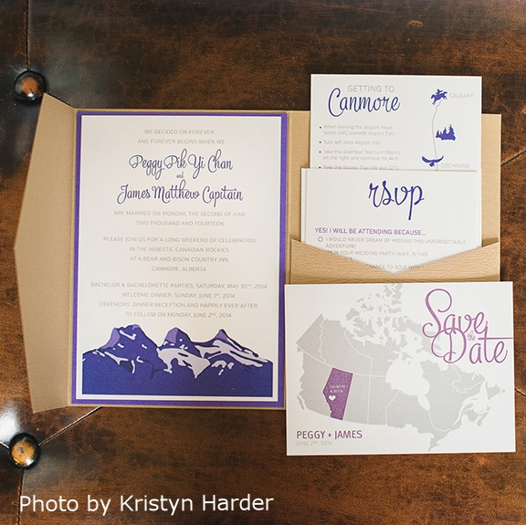 Pink Umbrella Designs - Rustic Mountain Wedding Invitation Suite. Photo by Krysten Harder Photography
