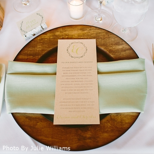 Pink Umbrella Designs - Rustic Elegant Wedding Menu. Photo by Julie Williams Photography.