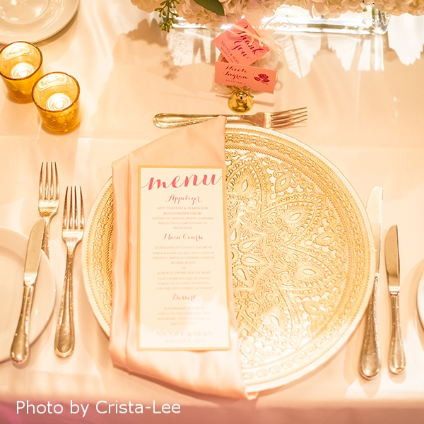 Pink Umbrella Designs - Elegant Pink Wedding Menu. Photo by Crista-Lee Photgraphy