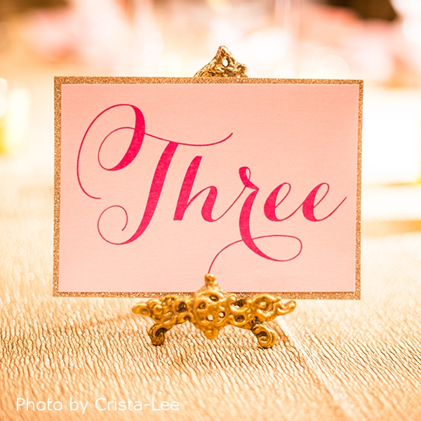 Pink Umbrella Designs - Elegant Pink Wedding Table Number Glitter. Photo by Crista-Lee Photgraphy