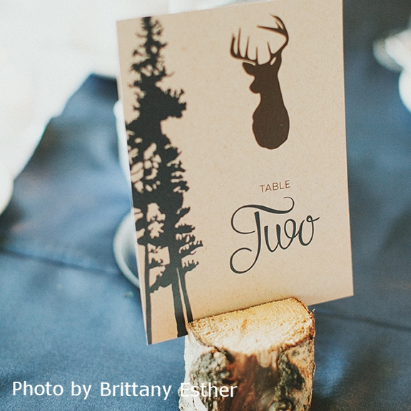 Pink Umbrella Designs - Rustic Classic Wedding Table Number. Photo by Brittany Esther Photography