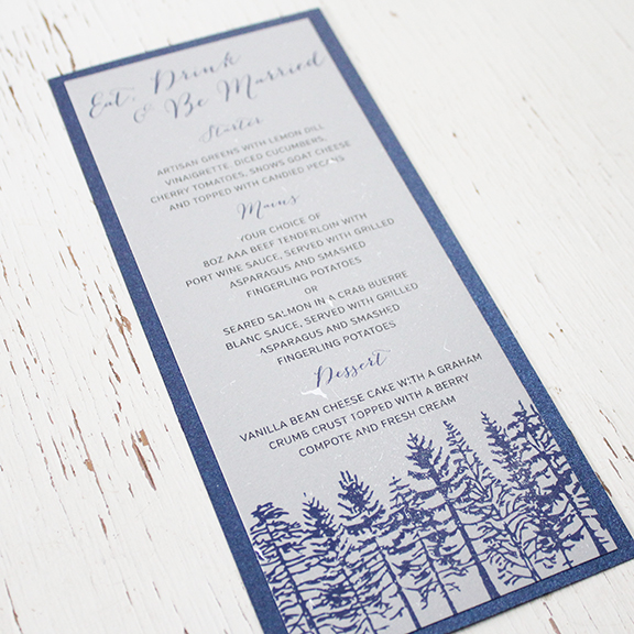 Pink Umbrella Designs - Rustic Snow Tree Wedding Menu