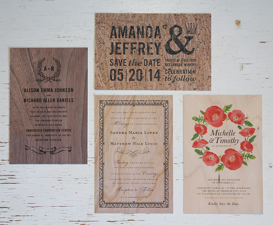 Wood & Cork Wedding Invitations! — Wedding Invitations Calgary ...