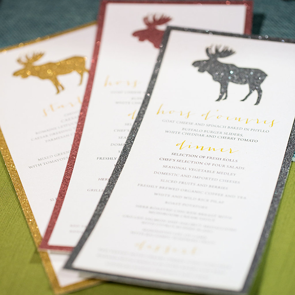 Glitter Glam Moose Wedding Menu - Banff Alberta