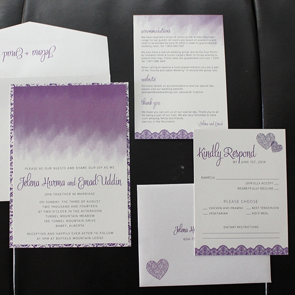 Ombre Purple and Lace Wedding Invitation Card Set - Calgary Alberta