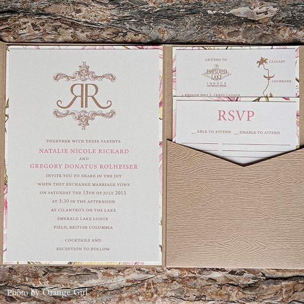 Pink Umbrella Designs - Rustic Tea Party Wedding Invitation Suite. Photo by Orange Girl
