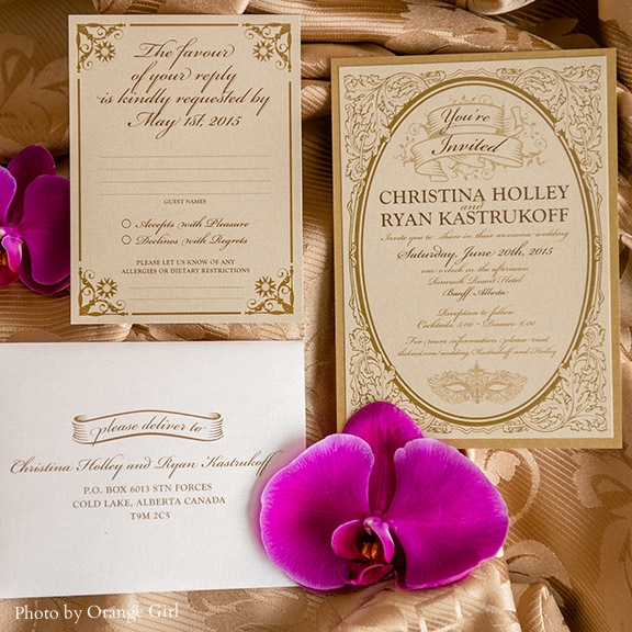 Pink Umbrella Designs - Victorian Classic Gold Wedding Invitation. Photo by Orange Girl