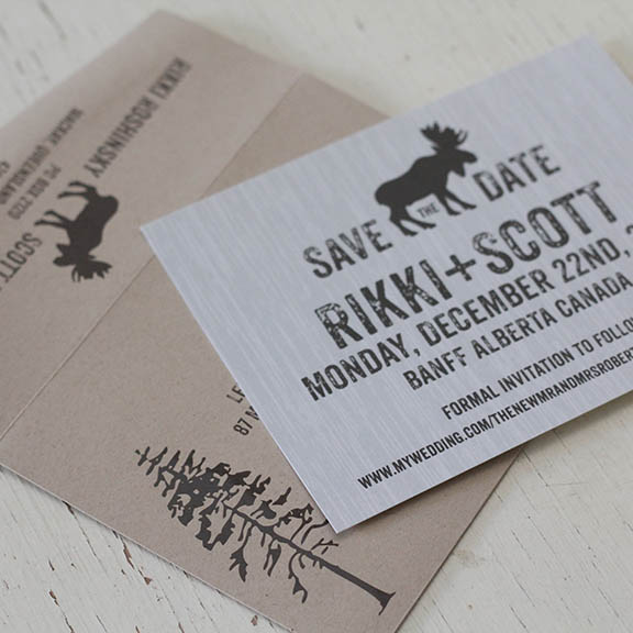 Rustic Moose Mountain Wedding Save the Date Invitation Card.