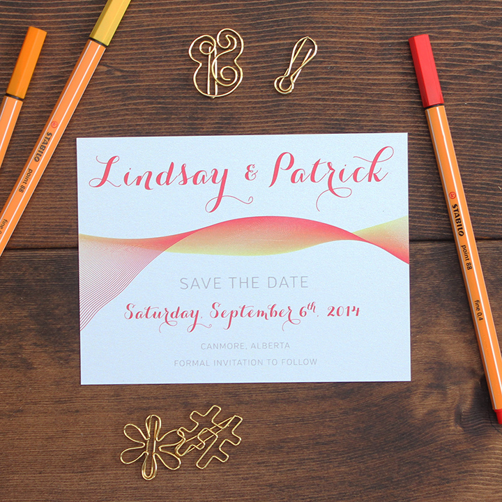 Fun Art Deco Spriograph Wedding invite save the date card.