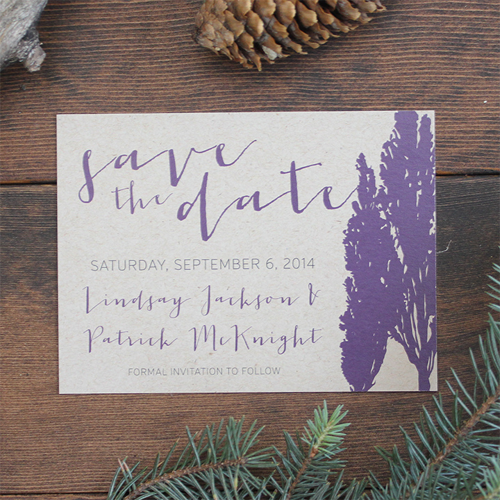 Rustic elegant wedding save the date invite card on kraft.
