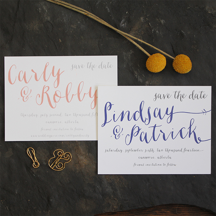 Modern script wedding save the date invitation.