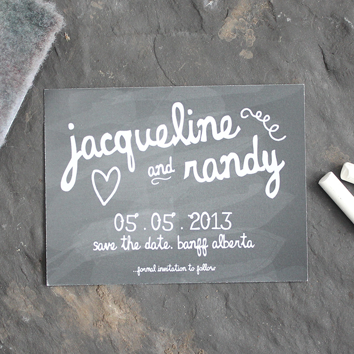 Fun and eclectic chalkboard save the date wedding invite.