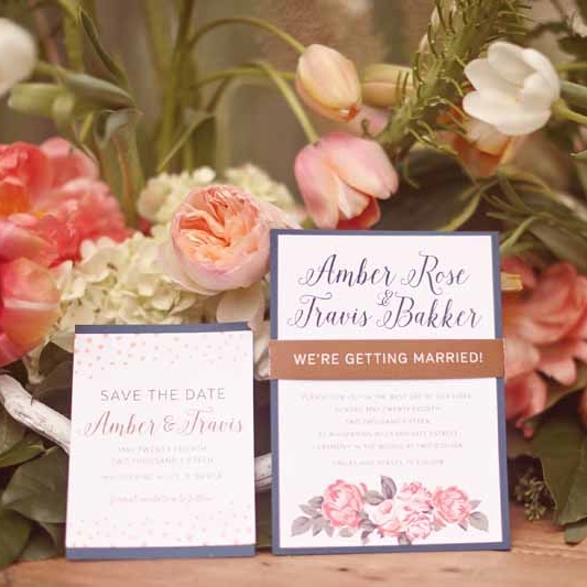 Floral Elegant Wedding Invite Save the Date Calgary Canmore Banff Alberta