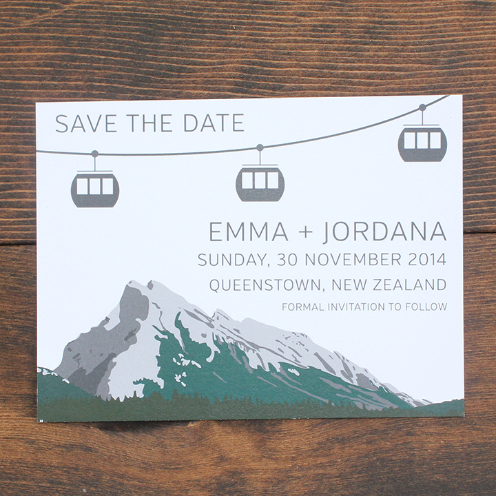 Gondola Banff Mountain Wedding Save the Date Invitation