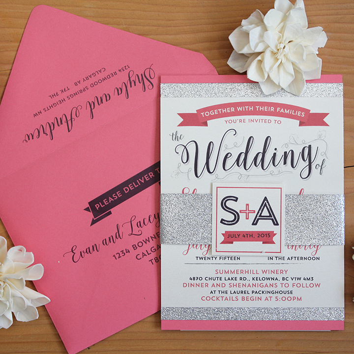 Wedding Invitation Calgary Modern Glam Sparkle and Coral
