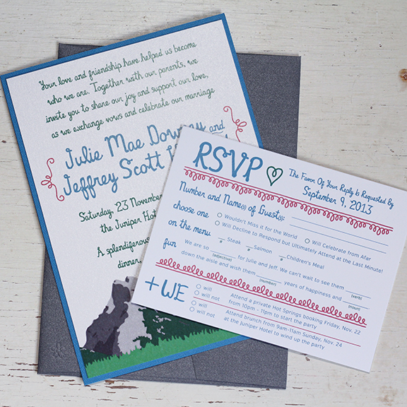 Unique Fun Wedding Invitations Set Calgary Canmore Banff