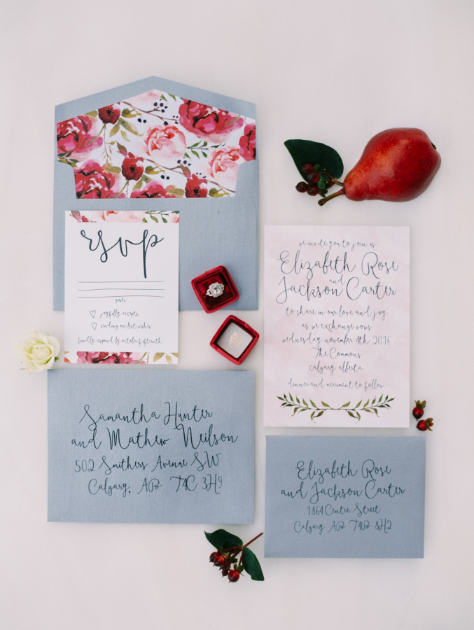 Calgary Canmore Wedding Invitations Watercolour Organic Botanical Suite