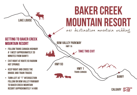 Custom Baker Creek Lake Louise Wedding Map
